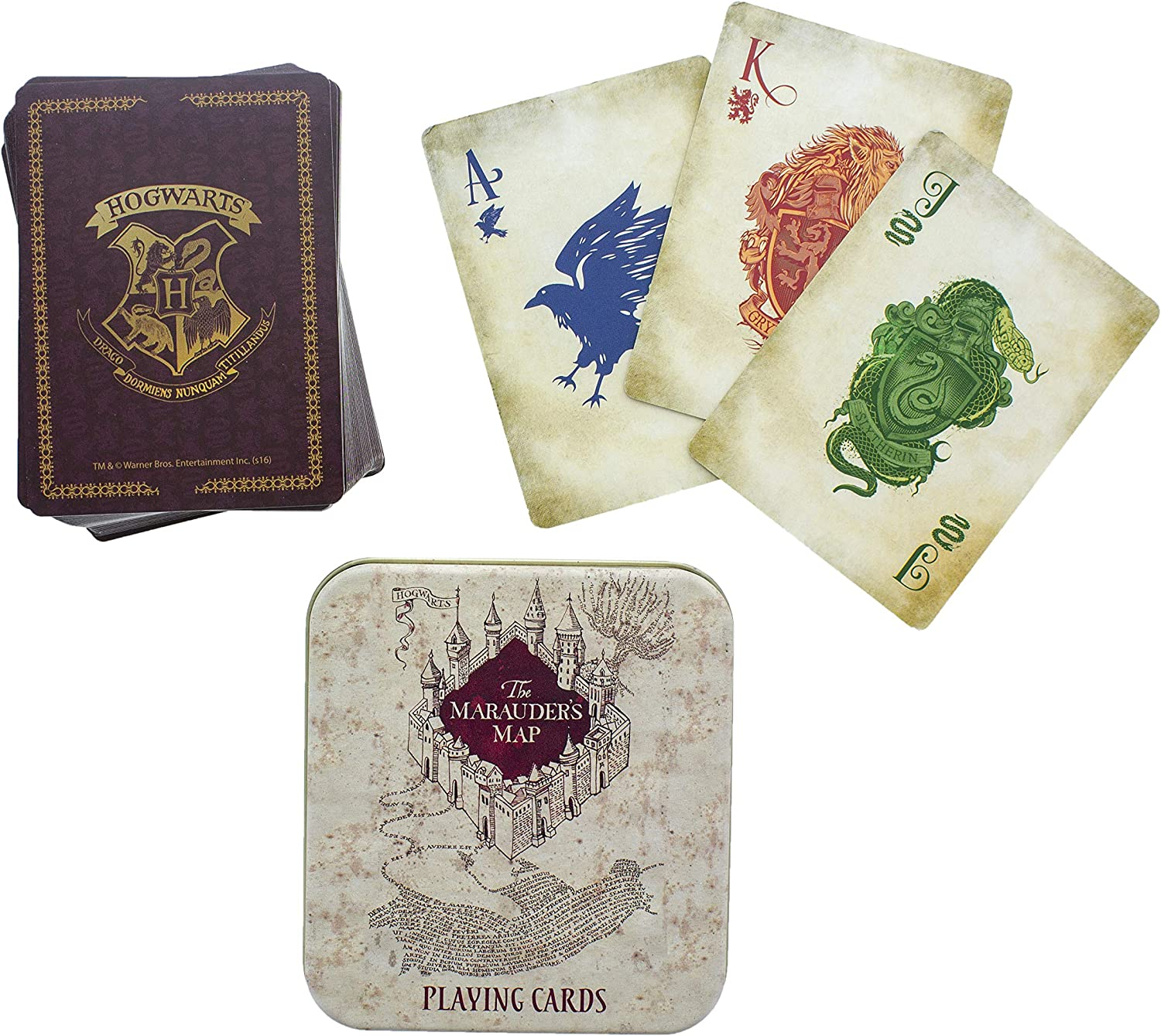 Includes Collectors Embossed Storage Tin Poker /& Blackjack Set Of 52 Featuring Hogwarts Villains Ideal For Games Harry Potter Death Eater Dark Arts Playing Cards