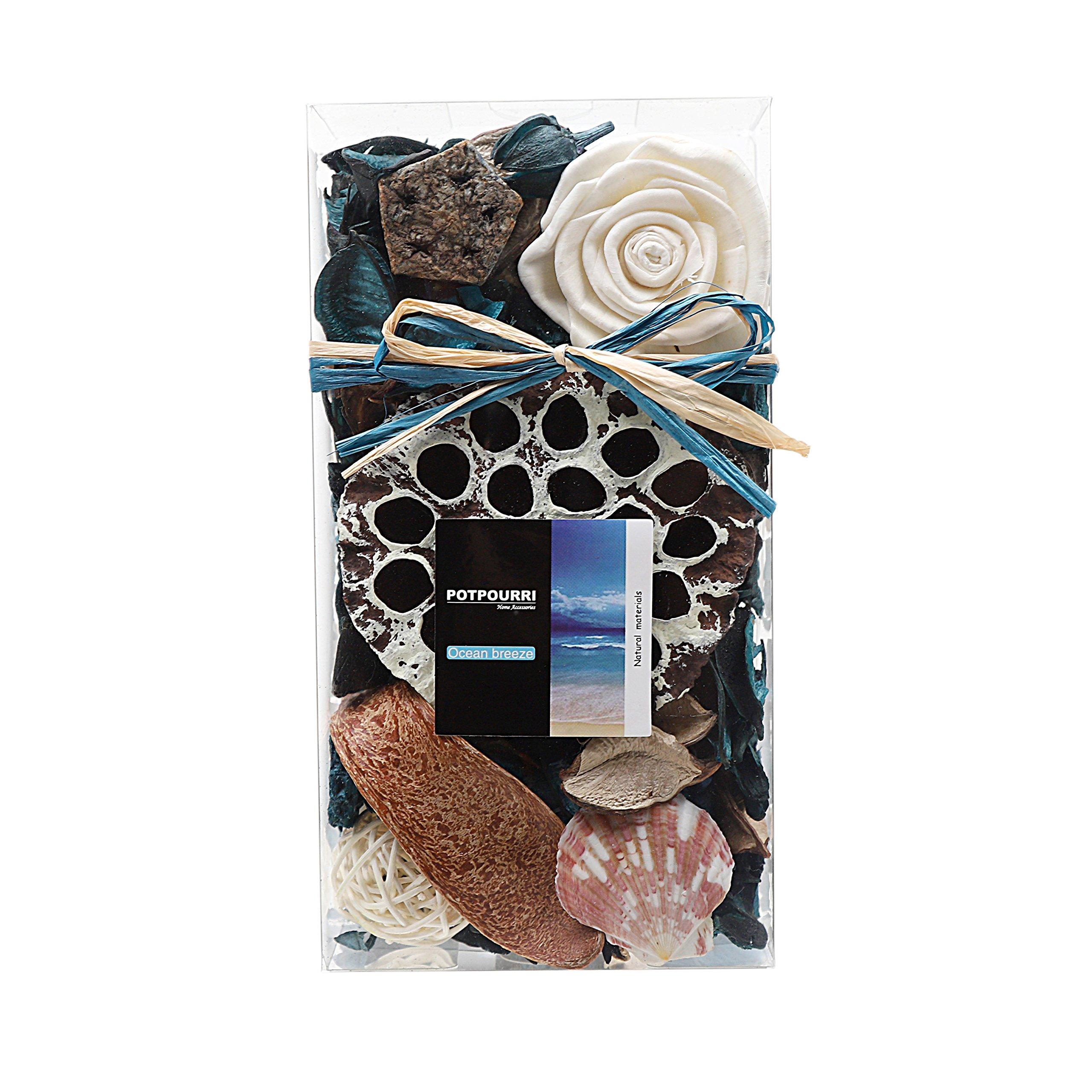 Qingbei Rina Gifts,Turquoise Potpourri Bag,Including Lotus pod,Flower,Petal,Pinone,Rattan Ball,Sepa Takraw,Perfume Satchet in PVC Bags.Home Decoration.7oz. (Turquoise)