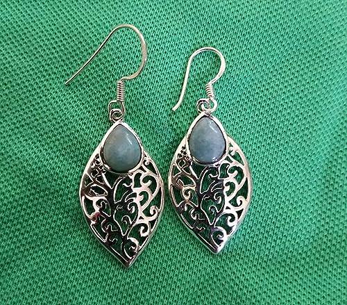 Larimar dangle earrings  sterling silver antique jewelry  natural larimar 925 sterling silver earring  Larimar antique earrings