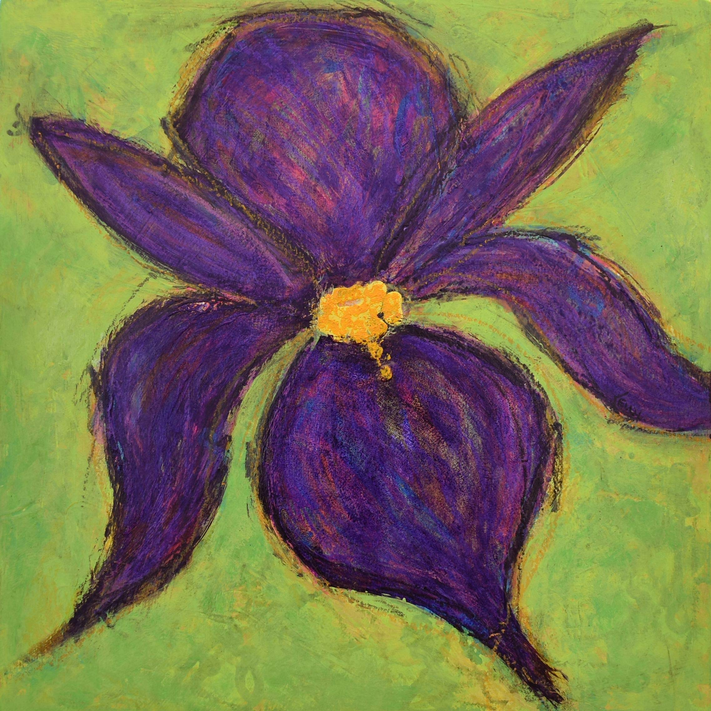 Flower Power II - Purple Iris Painting by