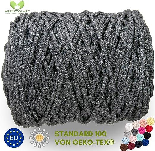 MeriWoolArt - Cordón de macramé de 10 mm x 60 m en bobina, hilo de algodón suave