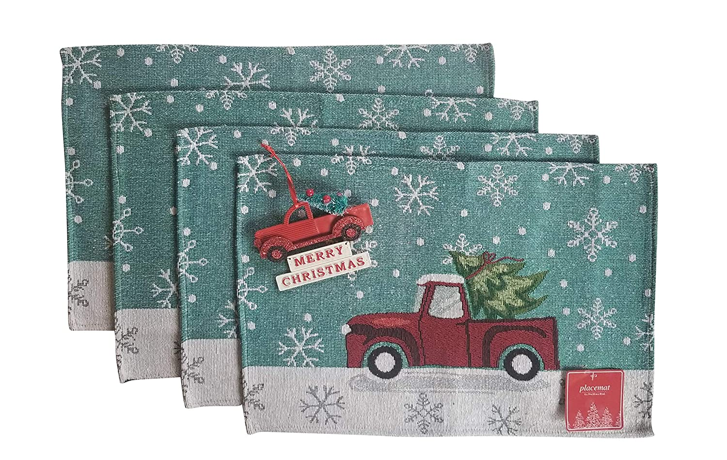 Seasonal Holiday Kitchen Linen Set Placemats Napkins Pot Holder Oven Mit (Retro Pickup Truck Placemats Set of 4 w Red Truck Ornament)