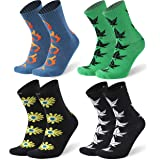 SuMade Combed Cotton Novelty Running Socks, Men Women Funny Casual Cycling Crew Socks 4 Pairs Multicoloured