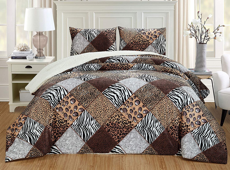 GrandLinen 3 Piece Full Size Brown Black White Animal Print Safari Comforter Set. Leopard, Zebra, Cheetah Winter Micro Fur Bedding with Sherpa Backing