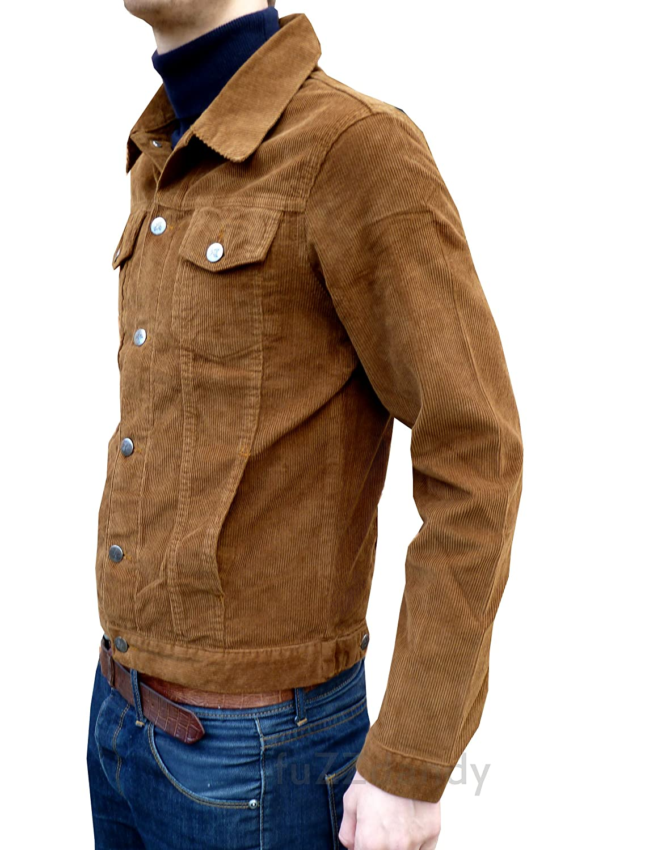 Mens Corduroy Western Denim Jacket Retro Vintage Tan Beige Coat at ...