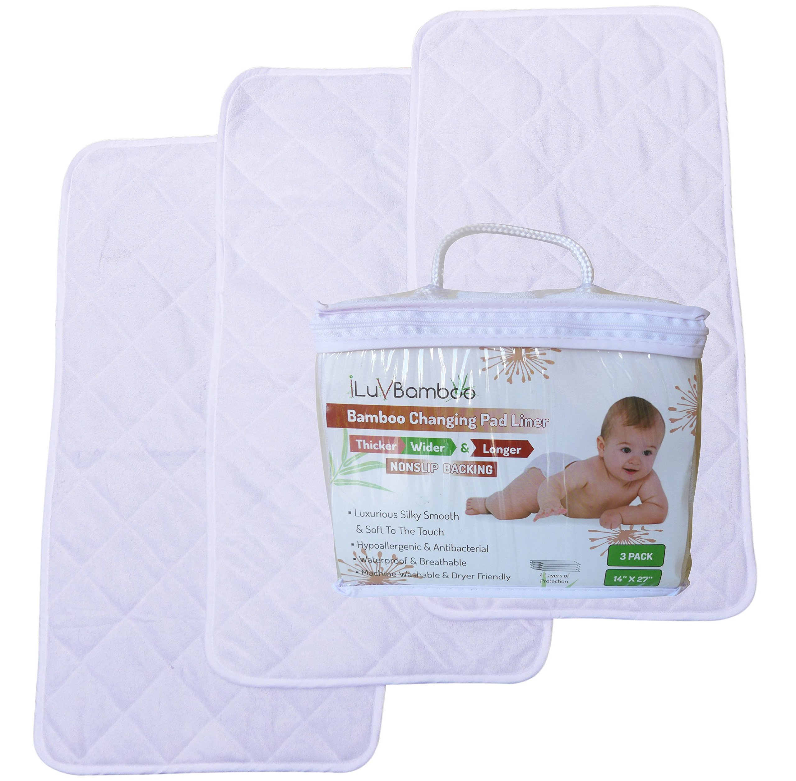 "iLuvBamboo New Best Grip – Thicker, Wider and Longer 14"" x 27"" Waterproof Changing Pad Liners 3 Pack – Mat to Cover your Changing Table Mattress Pad for Diaper Change & Baby Gifts"