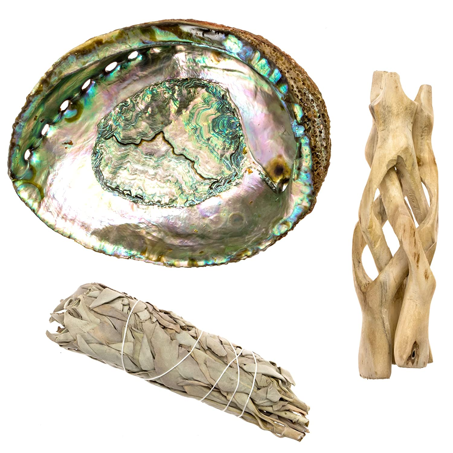 Premium Bundle with 6.5 Inch Abalone Shell, Natural Wooden Tripod Stand, and 1 Medium Sized California White Sage Smudge Sticks for Incense Burning, Home Fragrance, Energy Clearing, Yoga, Meditation