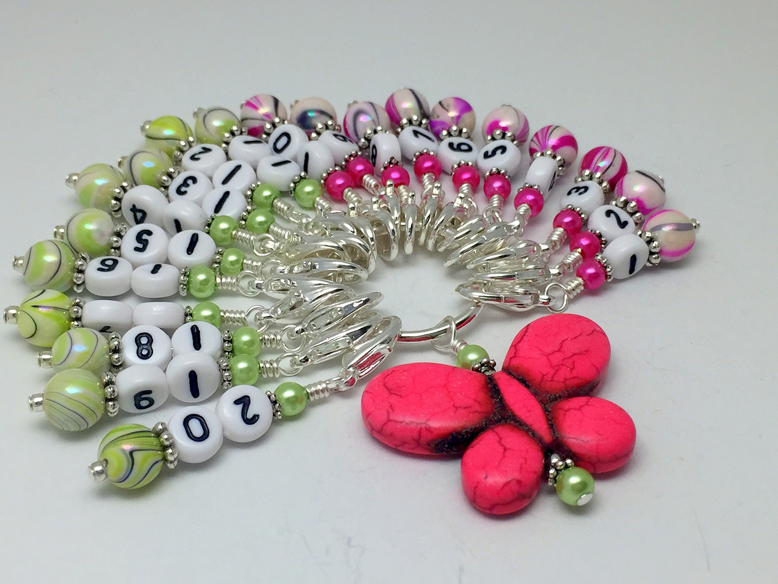 Numbered Stitch Marker Charms with Pink Butterfly Holder 1-20