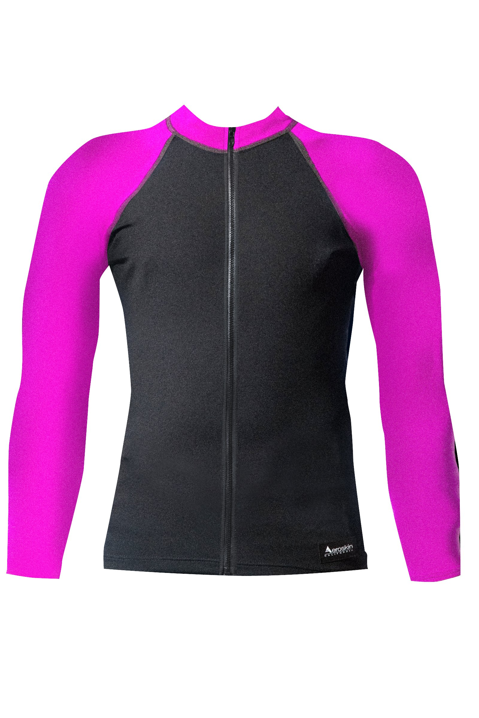 Aeroskin Raglan Long Sleeve Shirt with Color Accents, Fuzzy Collar and Front Zip (Black/Fuchsia, X-Small)