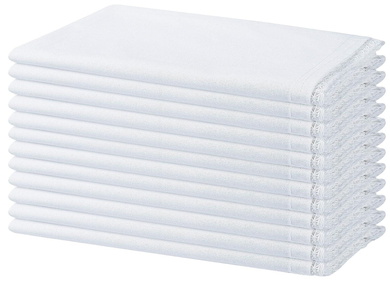 Serviettes de Table Mariage Blanc Point dourlet Serviettes de Table tissu Clinique du coton Lot de 12 Serviettes de Table Coton 50 x 50 cm