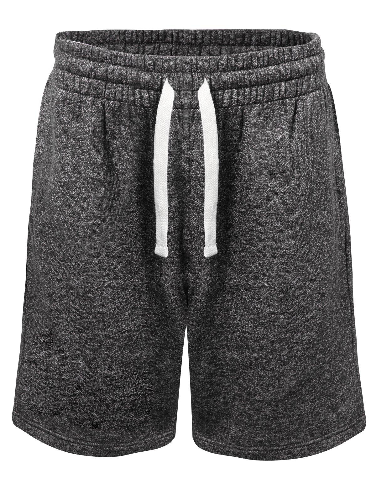 ProGo Men's Casual Basic Fleece Marled Shorts Pants with Elastic Waist (Marled Black, Medium) by PROGO USA