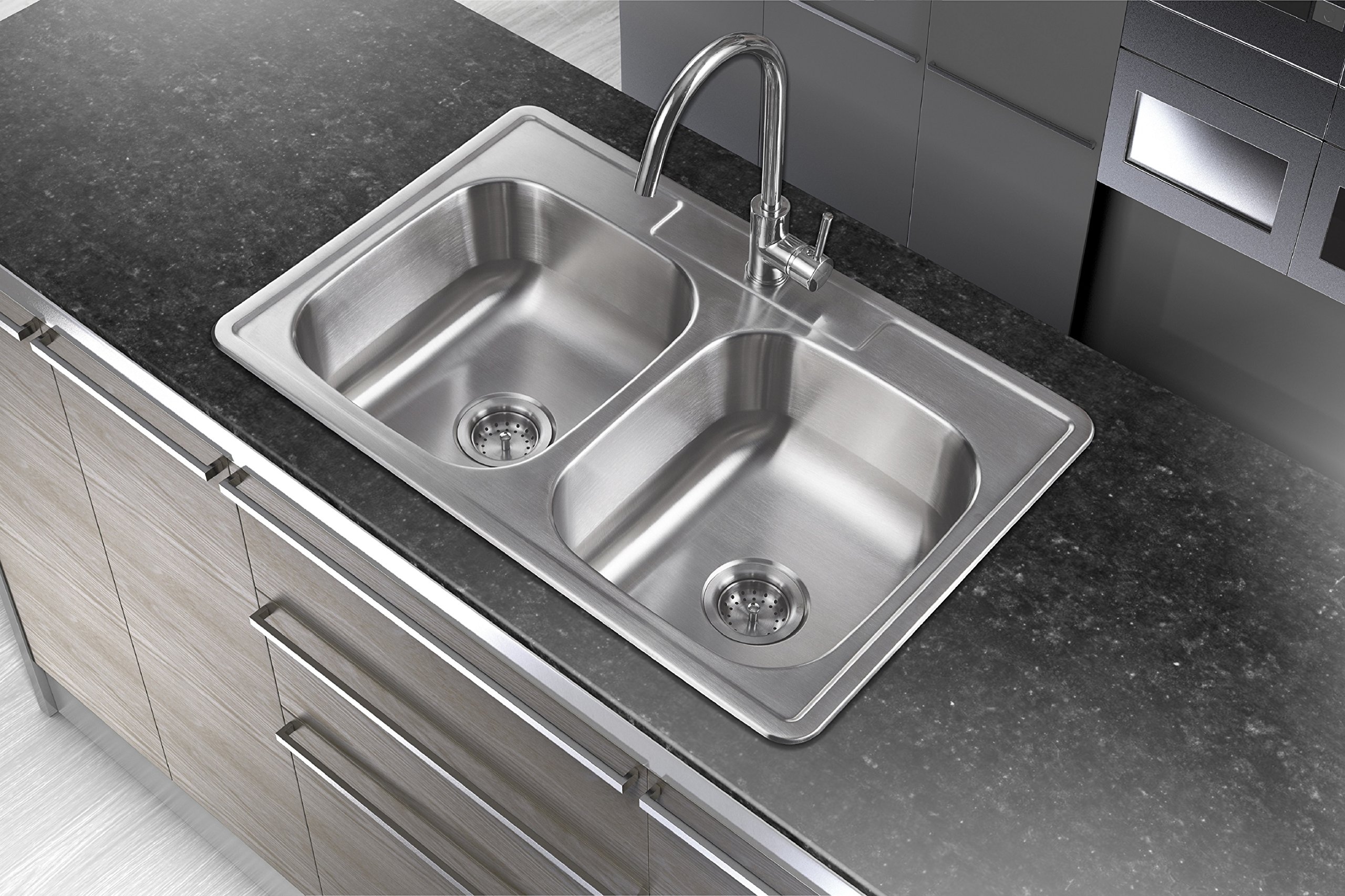 Winpro 33''x 22'' x 7'' Top Mount Double Bowl 304 Stainless Steel Kitchen Sink with 4 Faucet Holes by WinPro (Image #2)