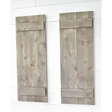 Rustic Barnwood Farmhouse Style Wood Shutters Set Of Two 30  x 11 …
