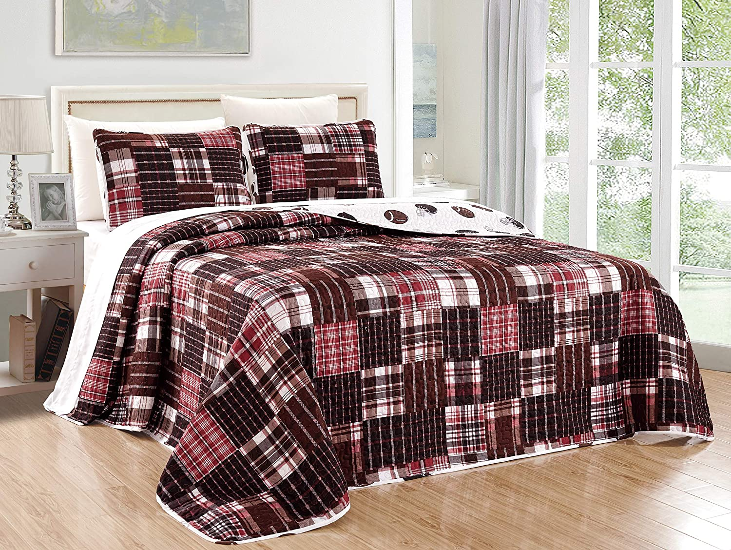 GrandLinen 2 Piece Football Sports Theme Quilt Set - Twin Size Bedspread for Boys, Girls, Guest Room and School Dormitory Coverlet Sets