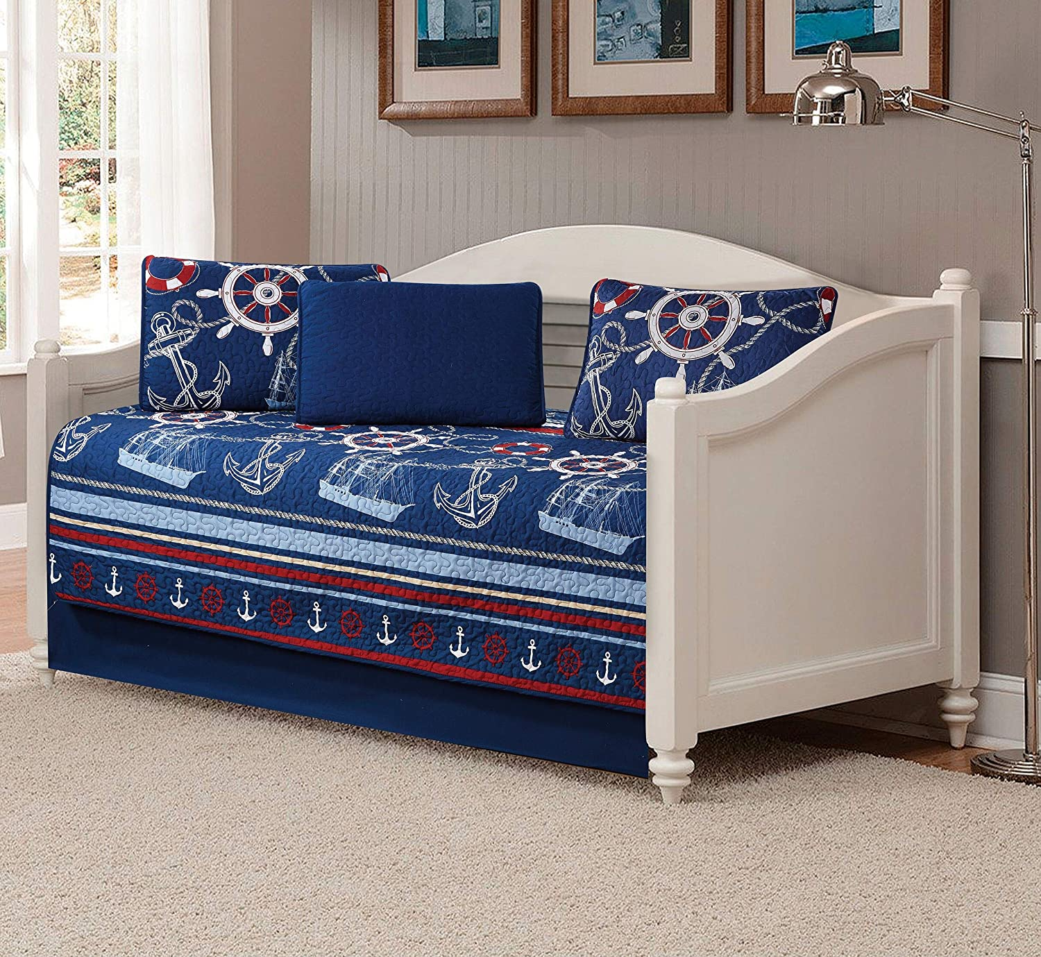 Better Home Style Light & Dark Blue White Red Striped Nautical Ships Helms Anchors Sailor Printed Design 5 Piece Daybed Coverlet Bedspread Quilt Bed Cover Set (10586)