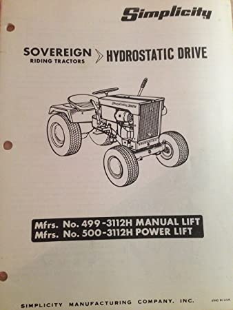amazon com simplicity sovereign tractor manual 3222h hydrostatic rh amazon com simplicity sovereign parts manual simplicity sovereign parts manual