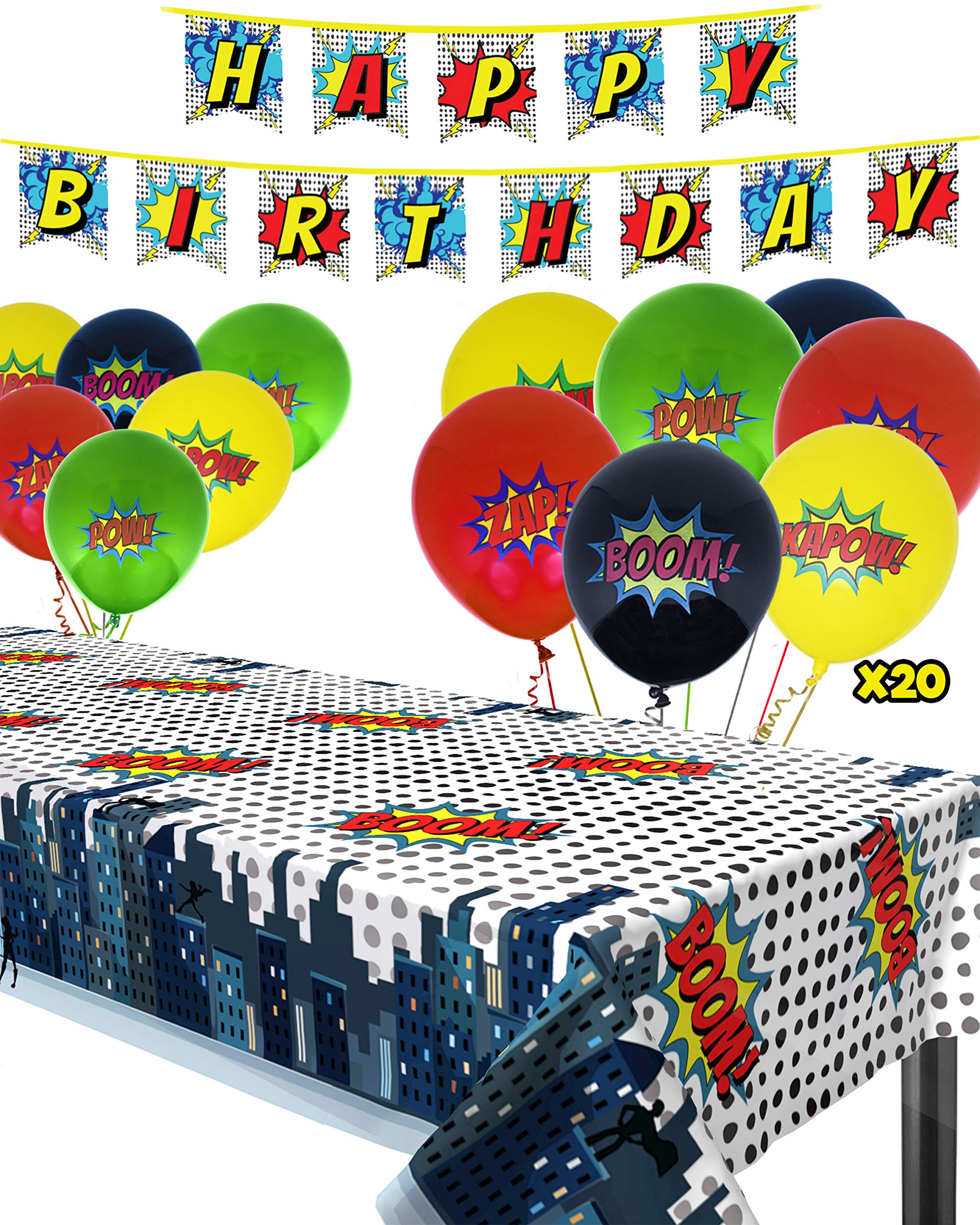 Superhero Party Supplies Kit with Superhero Tablecloth, Superhero Birthday Banner and 20 Superhero Balloons - Complete Superhero Decorations Kit by The Memory Building Company