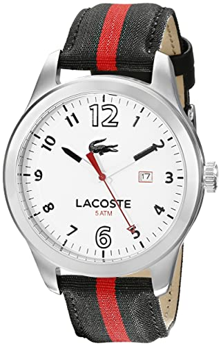 Lacoste Men s 2010723 Auckland Stainless Steel Watch with Striped Nylon Band