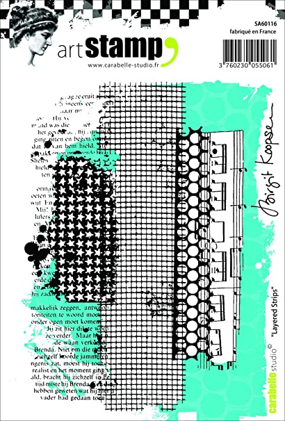 Carabelle Studio Layered Strips Cling Sello, Caucho, 10.0x14.0x0.5 cm