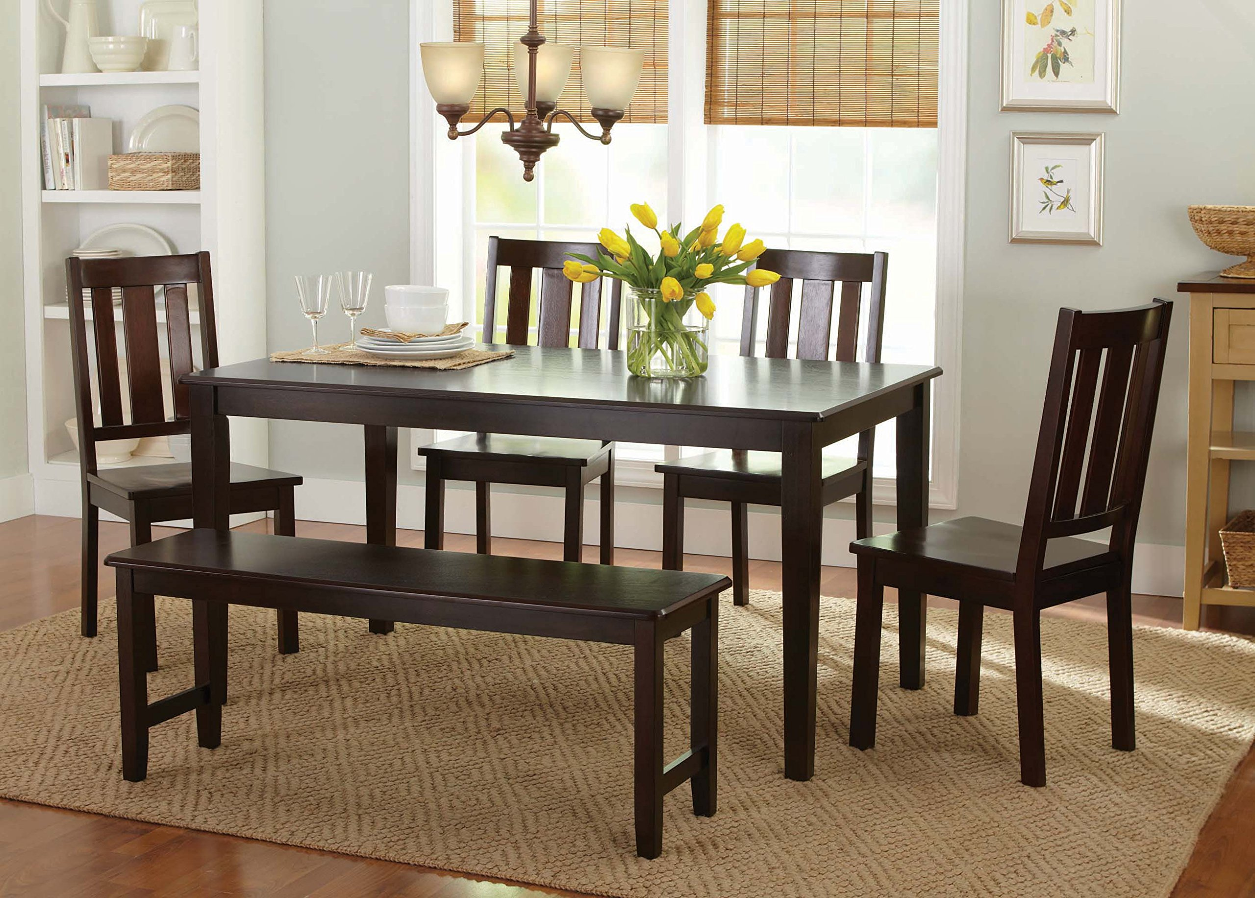 Bankston Dining Bench, Mocha, Espresso, Wood by Better Homes & Gardens (Image #3)