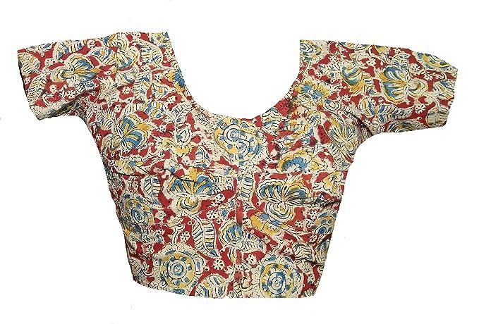f9562e890a552 SAPTASHRI Non-Padded Kalamkari Block Print Cotton Readymade Blouse for Women