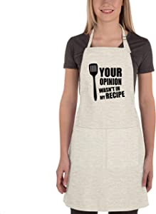 Dadidyc Funny Apron for Women-Your OPIOION Wasn't in My Recipe Apron Adjustable for Cooking,Chef, Kitchen, Home, Restaurant,Cafe,Baking,Gardening Durable Linen Apron