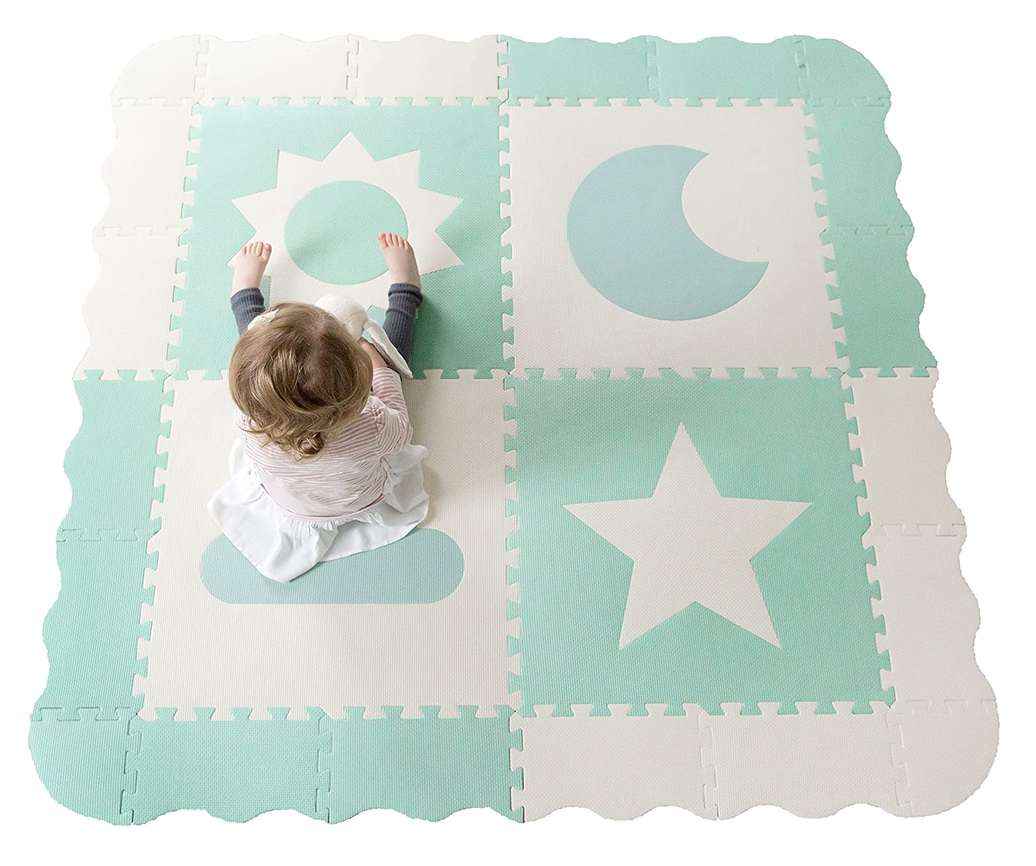"Interlocking Foam Baby Play Mat Tiles - Non-Toxic, Extra Large Thick Floor Squares, 61"" x 61"" Duck Egg Blue & White Nursery Mat, Safe & Protective For Infants, Toddlers, Kids Childlike Behavior MSBW"