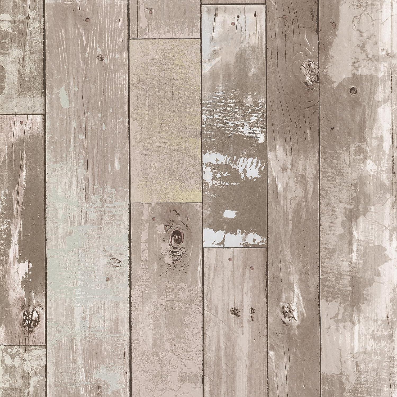 Brewster 347-20132 Heim Taupe Distressed Wood Panel Wallpaper by Brewster B00KRJMDRM