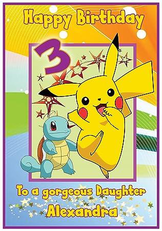 Personalised Pokemon Pikachu Inspired Birthday Card Girl Amazon