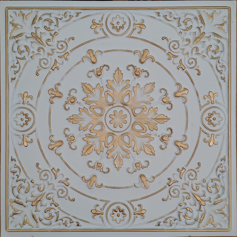 PLASTDECOR Drop in Ceiling Tiles Faux Tin Painted White Gold Coffee Decor Wall Panels PL18 10pcs/lot