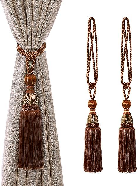 Pair Of Tassel Tiebacks Coffee Brown Harrison Drape Rope Tiebacks