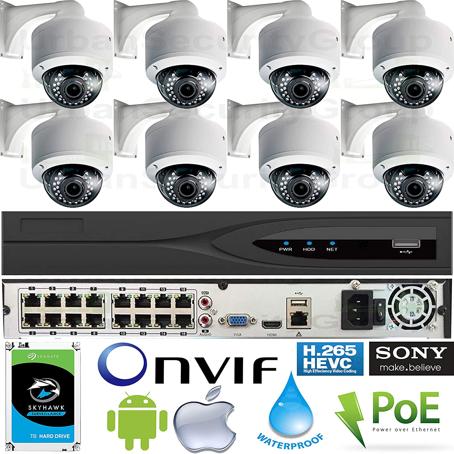 Urban Security Group 16 Channel IP Camera System 1x Ultra 4K 16 Channel PoE NVR 8x 5MP Vari-Focal Lens PoE Dome Outdoor Cameras 1x 2TB HDD Pro Grade
