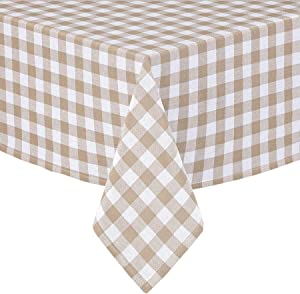 Buffalo Gingham Check Indoor/Outdoor Casual Cotton Tablecloth, Buffalo Plaid 100% Cotton Weave Kitchen, Patio and Dining Room Tablecloth, 60 x 102 Oblong/Rectangular, Sand