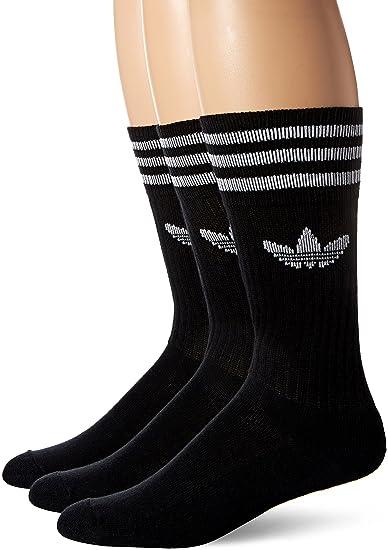 0dbb9524d adidas Originals Men's Solid Crew Socks (Pack of 3), Black/White, 6 ...