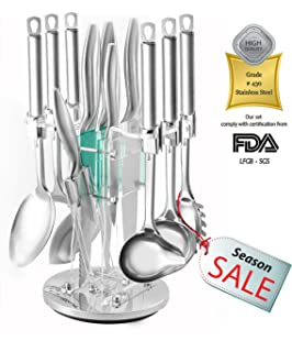 set di 13 coltelli e utensili da cucina in acciaio inossidabile inclusi spatola cucchiaio