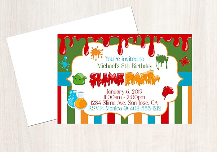 Slime Party Invitations Birthday Sciene 25 With Envelopes 4x6 Invitation