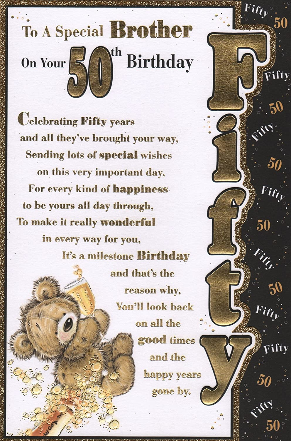 Brother 50th Birthday Card To A Special Brother On Your 50th
