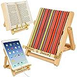 Wooden Bookholder Recipe Book Phone Holder eReader iPad Tablet Stand Rest Gift Idea (Multistripe (Deckchair))
