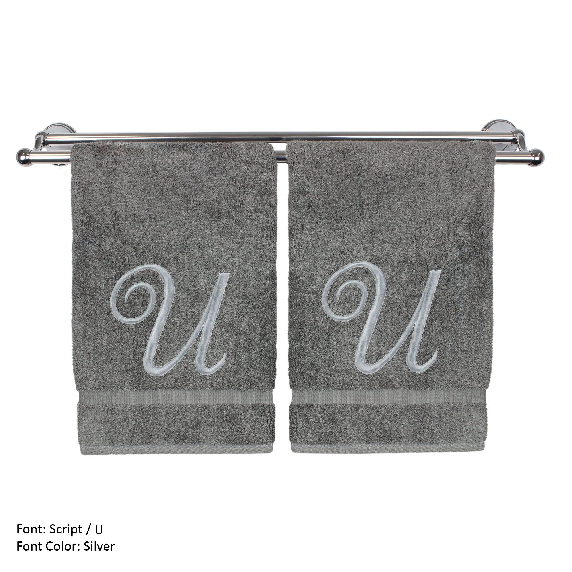 Monogrammed Hand Towel, Personalized Gift, 16 x 30 Inches - Set of 2 - Silver Embroidered Towel - Extra Absorbent 100% Turkish Cotton- Soft Terry Finish - For Bathroom, Kitchen and Spa- Script U Gray