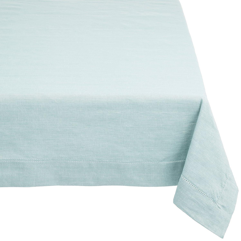 Madera de caoba rectangular mantel de lino (con agujero Stitch, algodón, azul, 60-Inch by 90-Inch