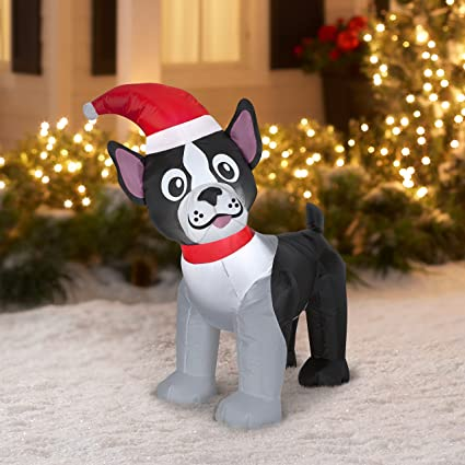 holiday time boston terrier christmas inflatable