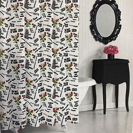 Amazon Betsey Johnson Fabric Shower Curtain Punk Love 72x72