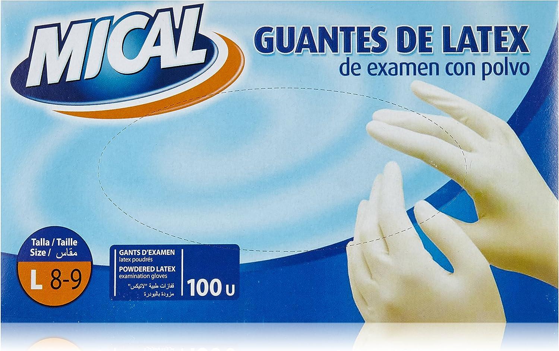 Mical - Guantes de latex de examen con polvo - Talla L - 100 ...