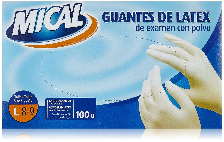 Mical - Guantes de latex de examen con polvo - Talla L - 100 unidades Miquel Alimentació Grup