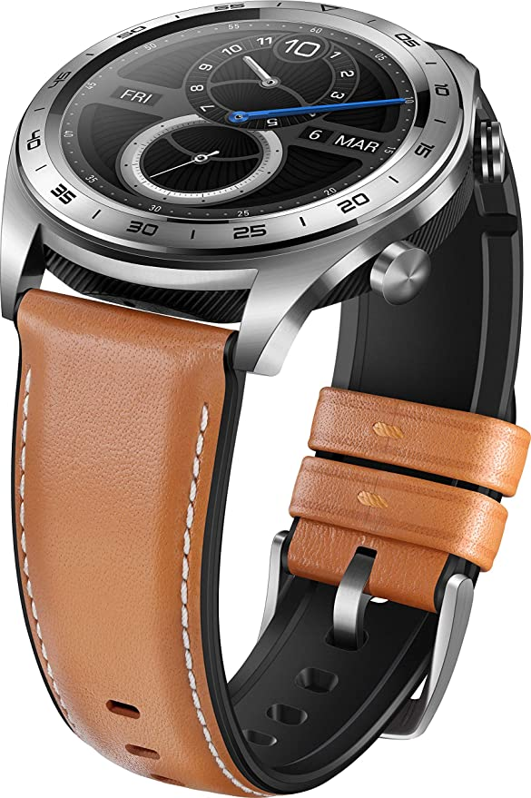 HONOR Watch 55023302 - Reloj diseño clásico con Pantalla AMOLED de 3 cm, Moonlight Silver/Brown