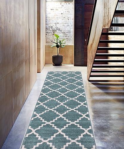 Light Blue 3×10 2 7 x 9 10 Runner Area Rug Trellis Morrocan Modern Geometric Wavy Lines Area Rug Living Dining Room Bedroom Carpet Contemproary Traditional Soft Plush Quality