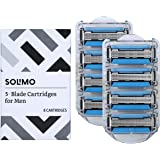 Amazon Brand - Solimo 5-Blade Razor Refills for Men with Dual Lubrication and Precision Beard Trimmer, 8 Cartridges (Fits Sol