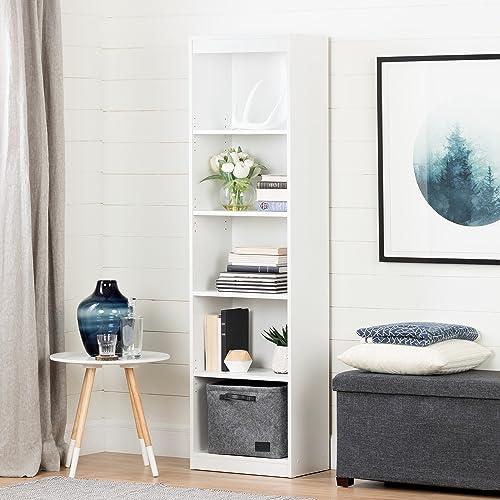 South Shore Axess 5-Shelf Narrow Bookcase-Pure White