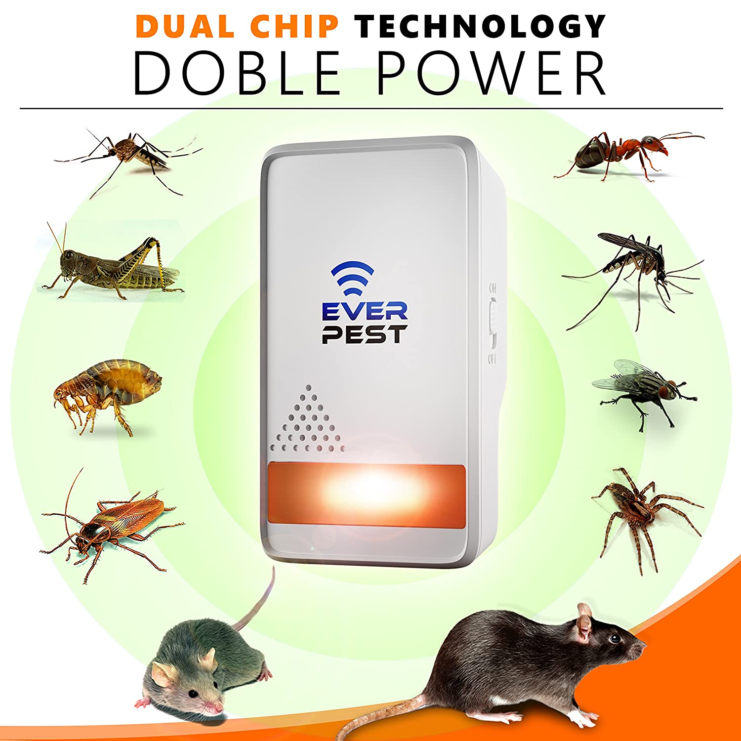 Ultrasonic Mosquito Pest Repellent 2019 - Repels Ants Fruit Flies and More Professional Home Control Plug in Electronic Repeller 4 Pack Rodents Fleas Roaches Rats