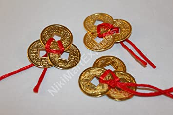 Amazon Com 3 Set 3 Ribbon Tied 9 Coins Chinese Feng Shui Lucky